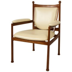 Custom Walnut Marion Armchair/ Lounge Chair Upholstered in Cream Leather