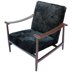 Custom Walnut Midcentury Style Armchairs in Black Sheepskin by Adesso Imports