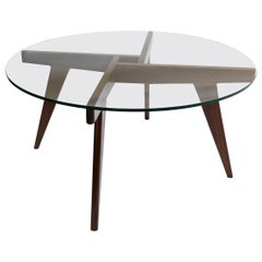 Custom Walnut Mid-Century Style Coffee Table with Glass Top by Adesso Imports