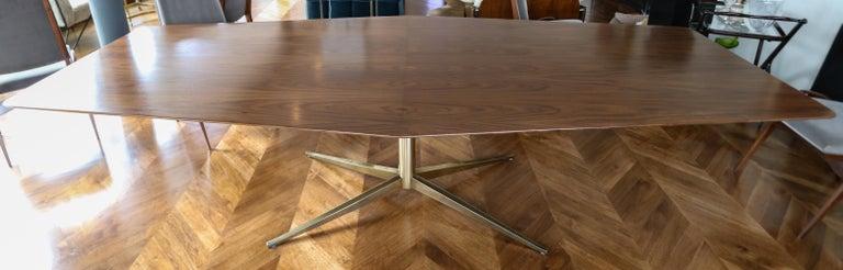 Mid-Century Modern Custom Walnut Pedestal Dining Table with Brass Leg For Sale