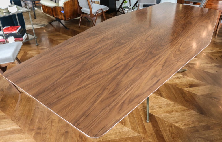 American Custom Walnut Pedestal Dining Table with Brass Leg For Sale