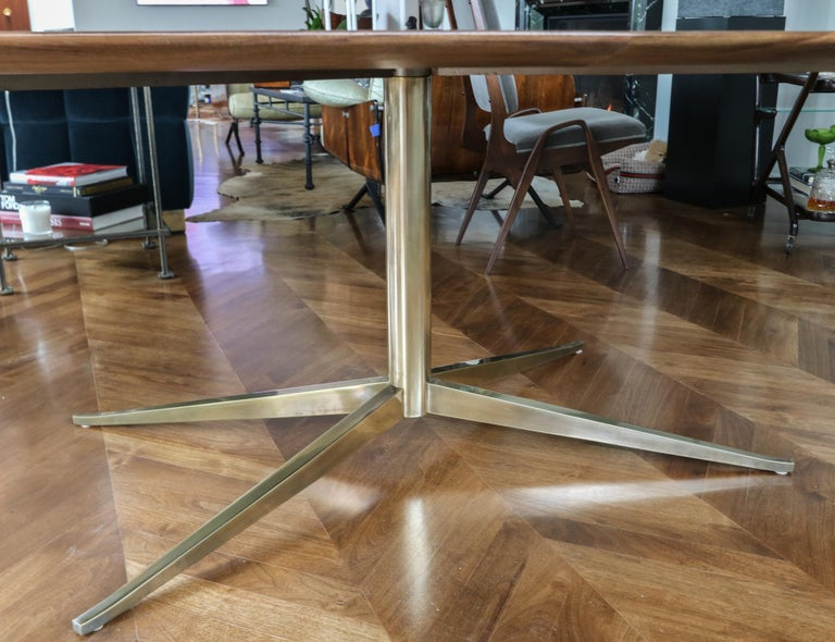 Custom Walnut Pedestal Dining Table with Brass Leg In New Condition For Sale In Los Angeles, CA