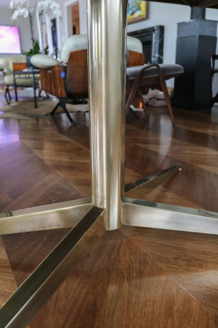 Contemporary Custom Walnut Pedestal Dining Table with Brass Leg For Sale