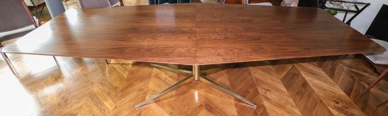 Custom Walnut Pedestal Dining Table with Brass Leg For Sale 3