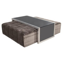 Custom Waterfall Coffee Table with Pullout Ottomans