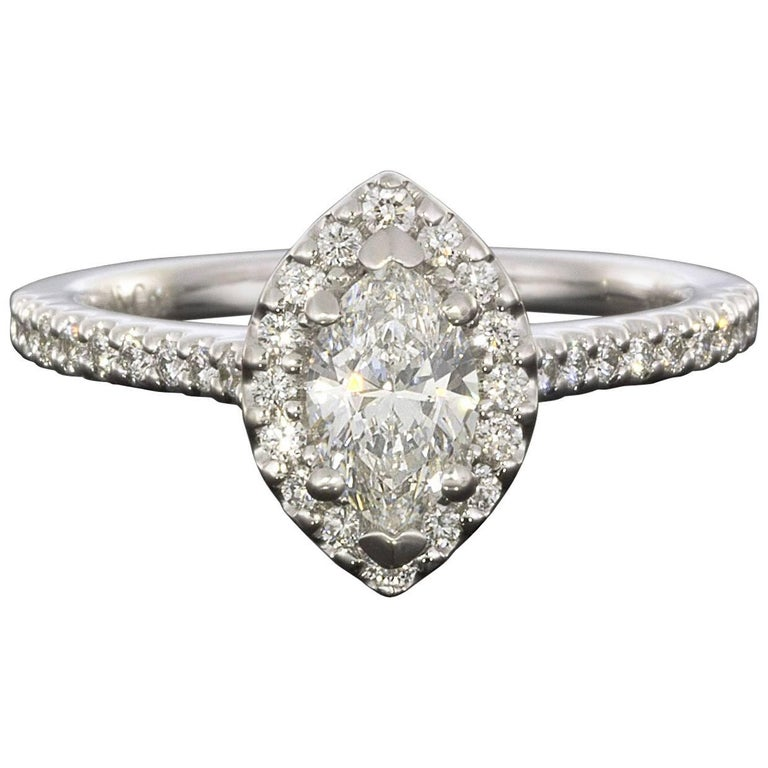 3afaec6e5adcf Custom White Gold 0.94 Carat Marquise Diamond Halo Engagement Ring