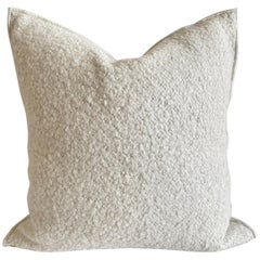 Custom White Linen and Wool Accent Pillow