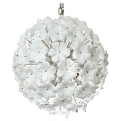 Custom White Lotus Flower Murano Glass Chandelier in Polished Nickel