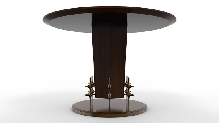American Custom Wood and Bronze Ico Centre Table from William Collins Collection For Sale