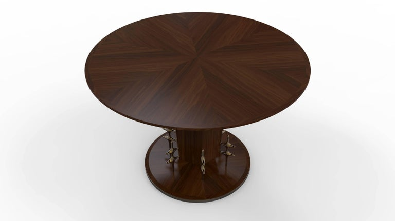 Cast Custom Wood and Bronze Ico Centre Table from William Collins Collection For Sale