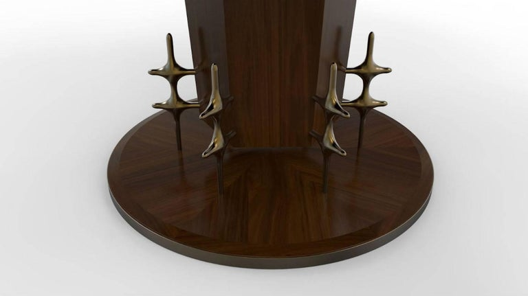 Contemporary Custom Wood and Bronze Ico Centre Table from William Collins Collection For Sale