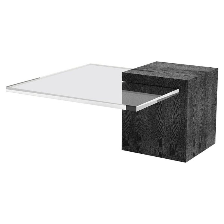 Custom Wood Coffee Table Shown with Plexiglass Top For Sale