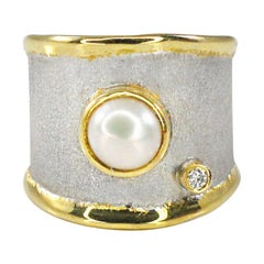 Custom YC Fine Silver Artisan Ring with Pearl Diamond and 24 Karat Gold