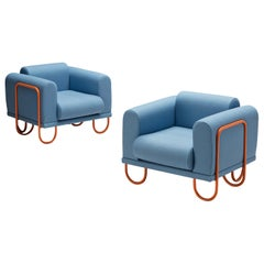 Customizable French Lounge Chairs with Tubular Frames