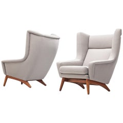 Customazible Pair of Danish Wing Back Chairs with Teak Frame