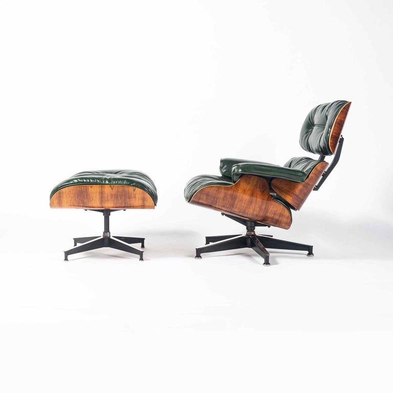 Please note: Pictures are from the previous customed upholstered Eames Lounge Chair in British Racing Green Leather. Please reach out for images of the current one in restoration.  We are excited to offer a pre-sale of our upcoming 3rd Gen Eames
