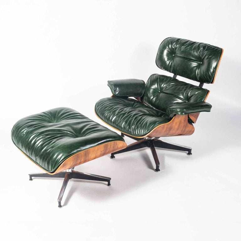American Customed Order, 3rd Gen Eames Lounge Chair in British Racing Green Leather For Sale