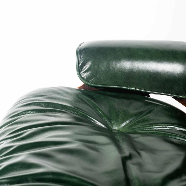 Customed Order, 3rd Gen Eames Lounge Chair in British Racing Green Leather For Sale 1