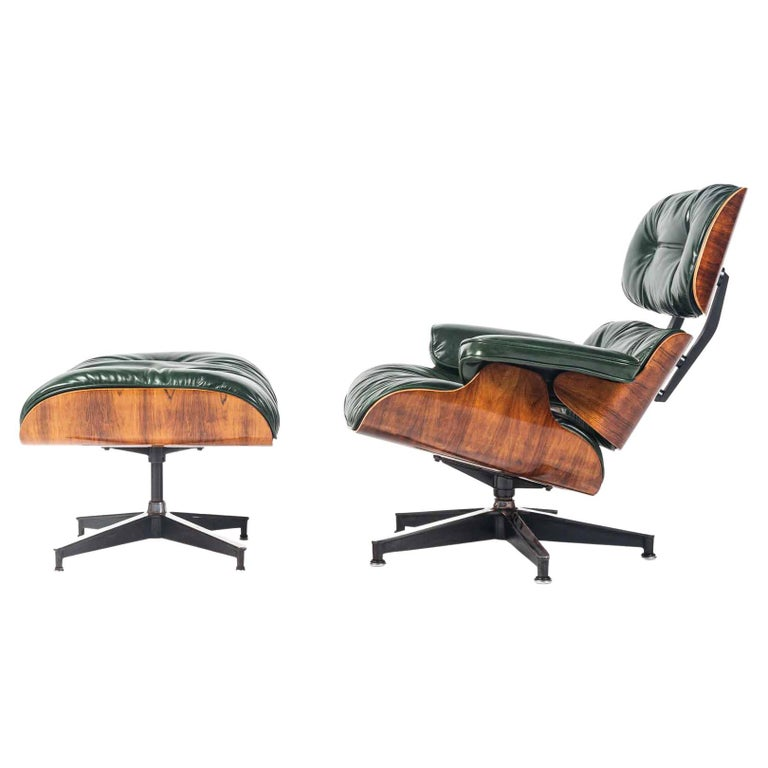 Customed Order, 3rd Gen Eames Lounge Chair in British Racing Green Leather For Sale