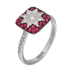 Customisable Modern Ruby White Diamond White Gold Star Spiritual Ring