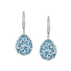 Customisable Natkina Rare Blue 8.63ct Topaz Diamond Drop Dangle Gold Earrings