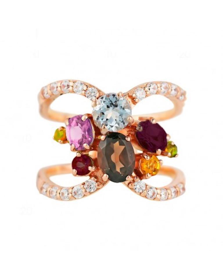 Customisable Precious Garnet Peridot Topaz Quartz Gold Three-Stone Ring