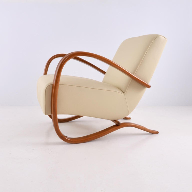 Art Deco Customised Halabala Armchairs, Leather Upholstery and Clear Glossy Wood Finish For Sale