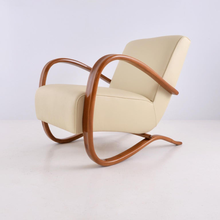 Czech Customised Halabala Armchairs, Leather Upholstery and Clear Glossy Wood Finish For Sale