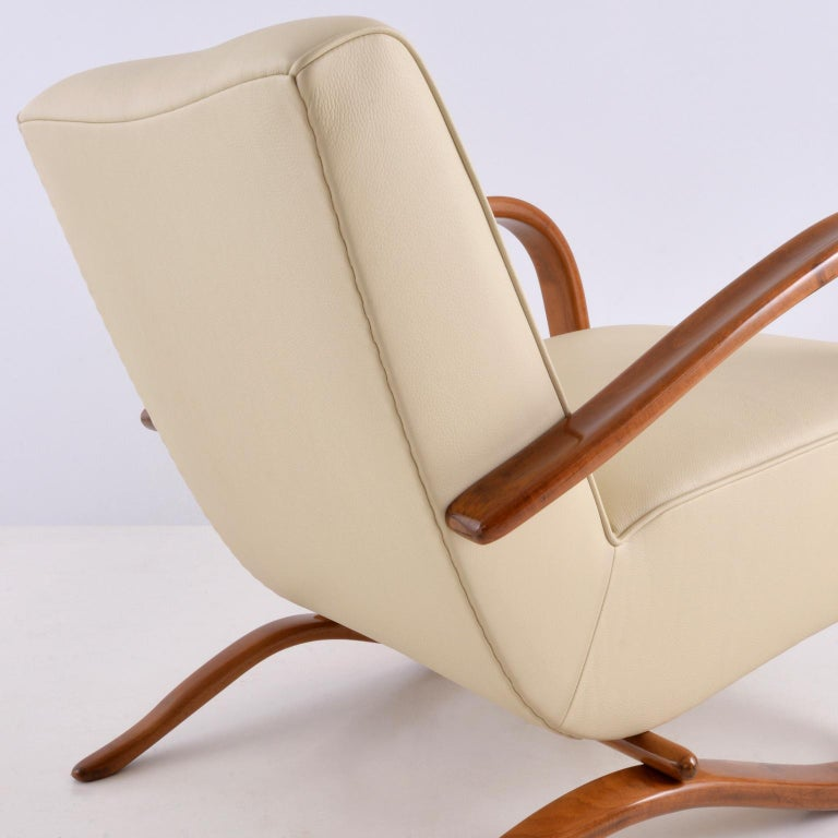 Glazed Customised Halabala Armchairs, Leather Upholstery and Clear Glossy Wood Finish For Sale