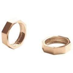 Customizable 14 Karats Yellow Gold Satin Octagon Unisex Deco Style Modern Ring