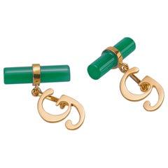 Customizable 18 Karat Yellow Gold Green Agate Letter Cufflinks