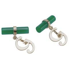 Customizable 18 Karats White Gold Green Agate Letter Unisex Cufflinks