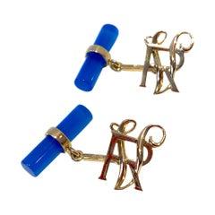 Customizable 18 Karats Yellow Gold Blue Agate Double Letters Monogram Cufflinks