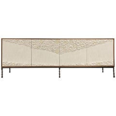 Customizable 4-Door Walnut Buffet with Blossom Glass Mosaic by Ercole Home