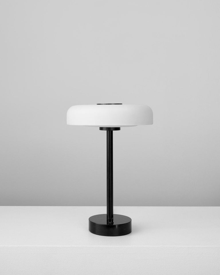 Modern Customizable and Dimmable Glass Disc Table Lamp by in Common With For Sale