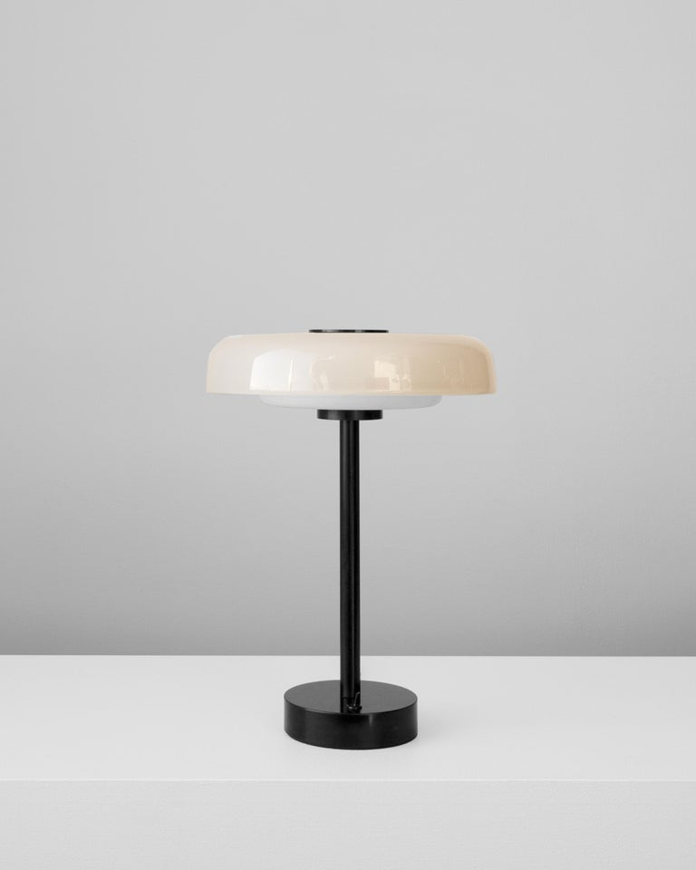 American Customizable and Dimmable Glass Disc Table Lamp by in Common With For Sale