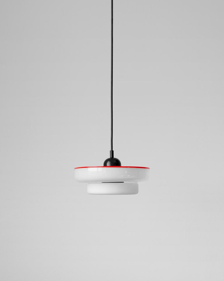 Modern Customizable and Dimmable Glass Reverse Disc Puck Pendant by in Common with For Sale