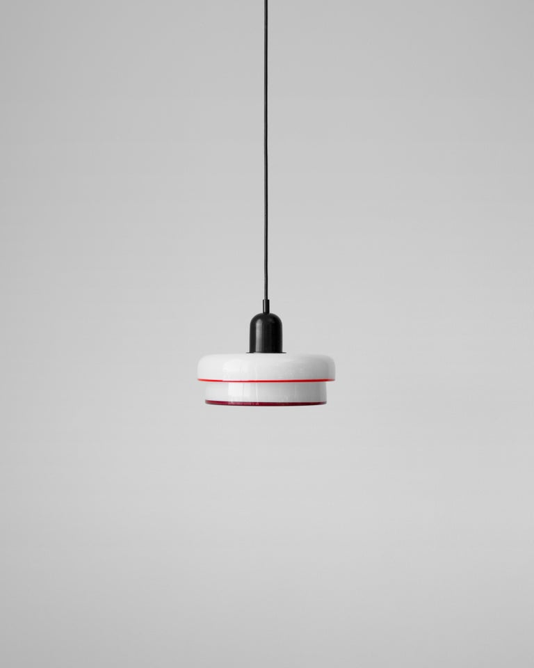 Modern Customizable and Dimmable Glass Tiered Disc Puck Pendant by In Common With For Sale