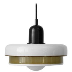 Customizable and Dimmable Glass Tiered Disc Puck Pendant by In Common With