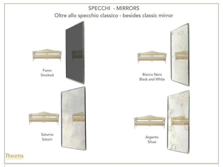 Customizable Art Deco Style Mirrored Three Panels Brass Frame Screen For Sale 10