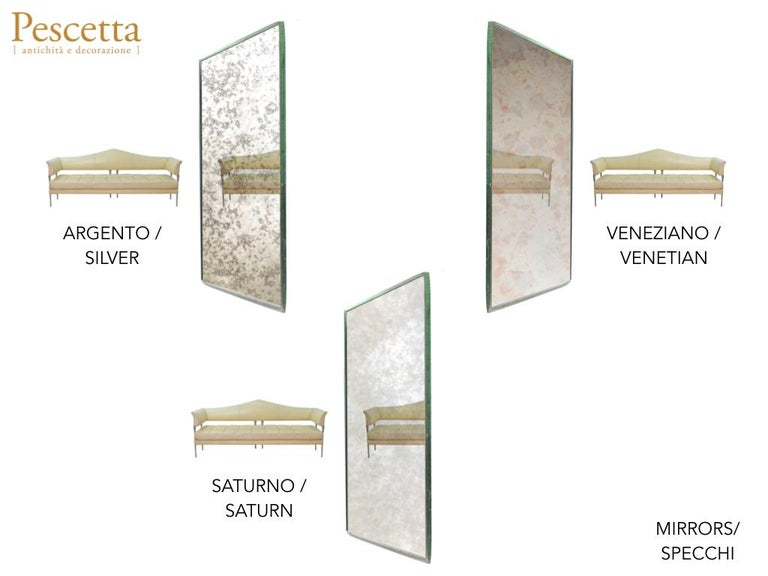 Customizable Art Deco Style Mirrored Three Panels Brass Frame Screen For Sale 12