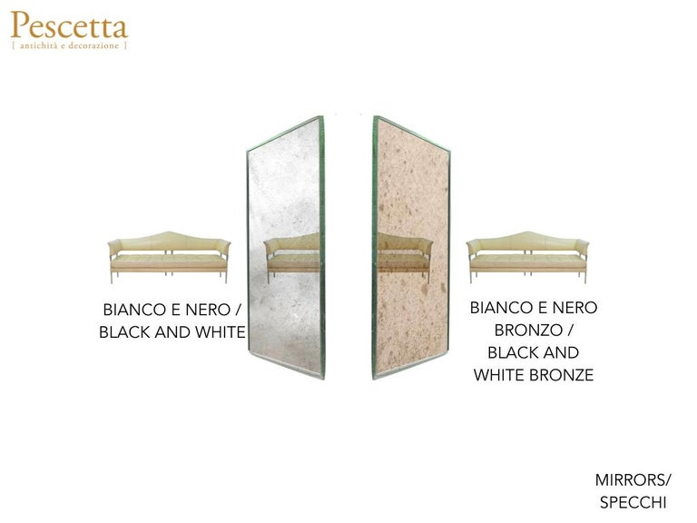 Customizable Art Deco Style Mirrored Three Panels Brass Frame Screen For Sale 14