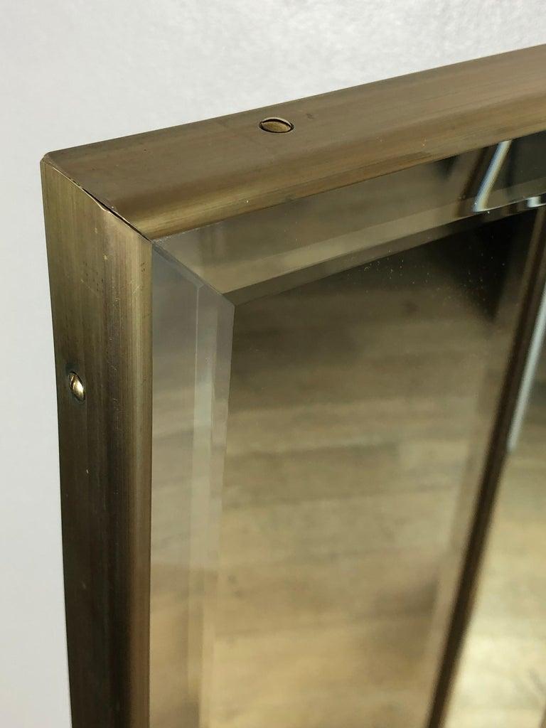 Italian Customizable Art Deco Style Mirrored Three Panels Brass Frame Screen For Sale