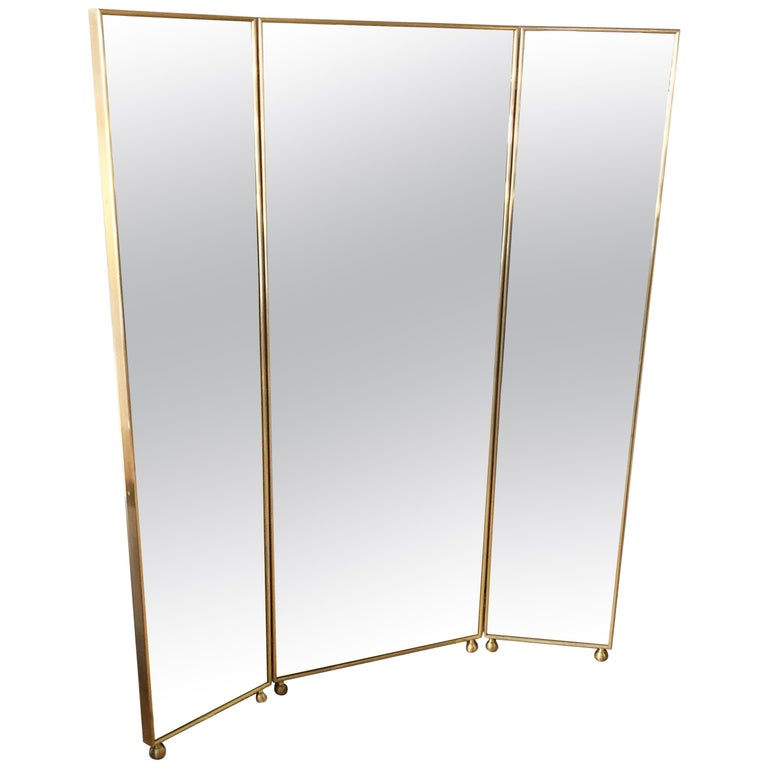 Customizable Art Deco Style Mirrored Three Panels Brass Frame Screen In New Condition For Sale In Milano, IT