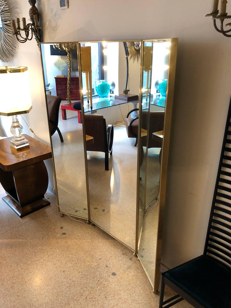 Customizable Art Deco Style Mirrored Three Panels Brass Frame Screen For Sale 1