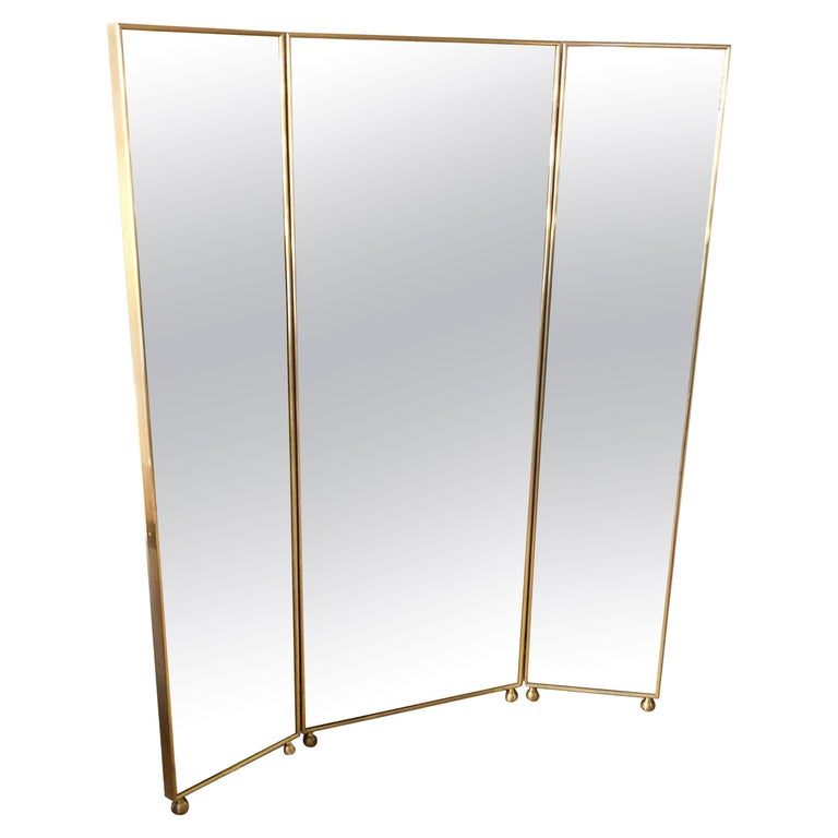 Customizable Art Deco Style Mirrored Three Panels Brass Frame Screen For Sale