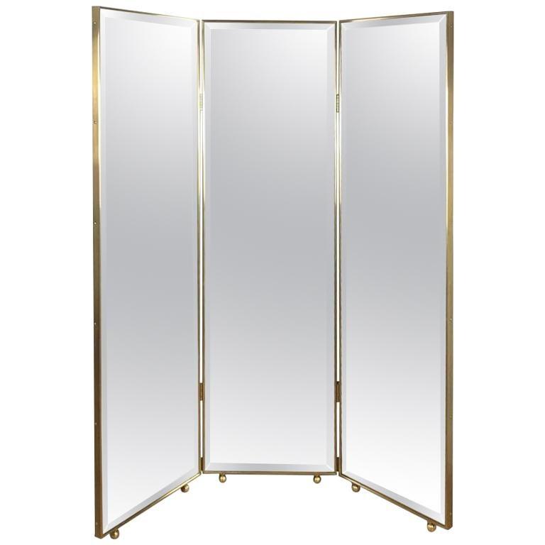 Customizable Art Deco Style Mirrored Three Panels Brass Frame Screen