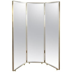 Customizable Art Deco Style Mirrored Three Panels Brass Frame Screen