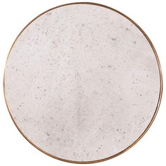 Customizable Art Deco Style Rounded Brass Frame Distressed Effect Mirror