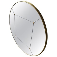 Customizable Art Deco Style Rounded Brass Frame Window Pane Look Mirror